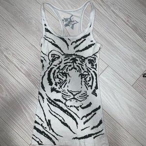 Nollie white tiger racer back tank sip size XS